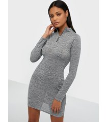 parisian zip front knitted bodycon dress loose fit dresses