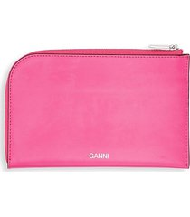 ganni women's logo leather zip-around wallet - shocking pink