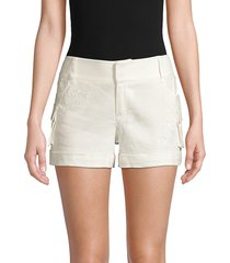 alice + olivia women's embroidered linen-blend cargo shorts - off white - size 12