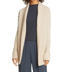 women's vince rib front wool & cashmere cardigan, size x-large - beige