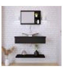 conjunto para banheiro bancada com cuba f44 folha, prateleira e espelheira city 806 preto ônix