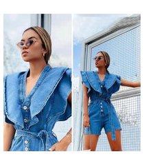 macaquinho jeans feminino macacão com manga babado novidade azul claro