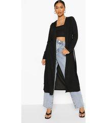 geribbelde duster jas met strik, black