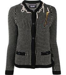 boutique moschino faux-pearl trimmed cardigan - black