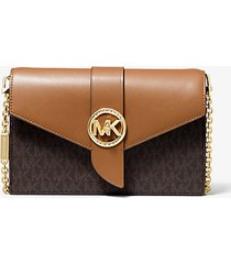 mk borsa a tracolla media convertibile in pelle con logo - marrone - michael kors