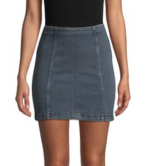 free people women's denim mini skirt - nautilus blue - size 12