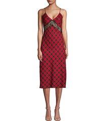 lace & tartan slip dress