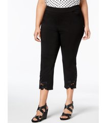 inc plus size lace-hem capri pants, created for macy's
