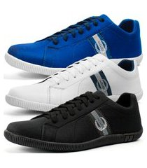 kit 3 pares de sapatênis casual dhl masculino azul, branco e preto