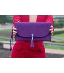 fioletowa torebka kopertówka z chwostem