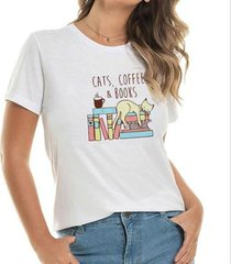t-shirt cat cofee books buddies feminina - feminino