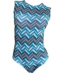 maio garota de luxo beachwear com tradicional azul geometricos - azul - feminino - dafiti