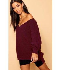 oversized v neck sweater, burgundy