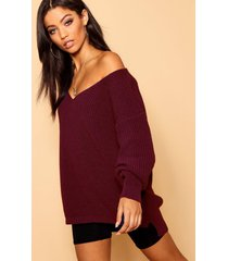 oversized v neck sweater, burgundy