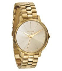 nixon 'the kensington' round bracelet watch, 37mm in all gold at nordstrom