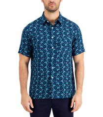 tasso elba men's cellula tile printed shirt, created for macy's