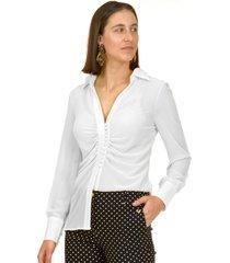 blusa pliegues italiana blanco bous