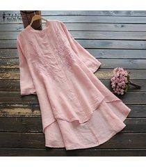 zanzea camisas bordadas para mujer vestido asimétrico alto bajo mini vestido tallas grandes -rosado
