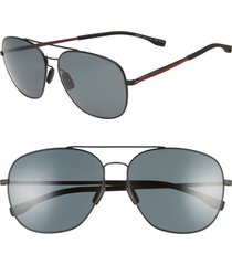 men's boss 62mm polarized special fit aviator sunglasses - matte black