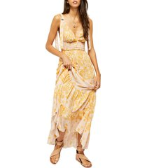 women's free people let's smock about it floral print maxi dress, size small - ivory