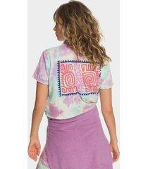 quiksilver womens - tie-dye cropped camp shirt for women