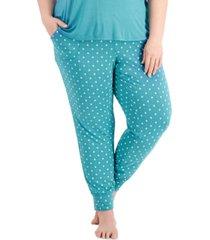 alfani plus size printed essential jogger pajama pants, created for macy's