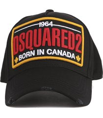 dsquared2 cotton baseball cap with embroidered logo