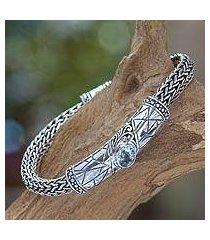 blue topaz braided bracelet, 'meditate' (indonesia)