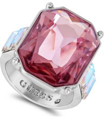 guess silver-tone square stone ring