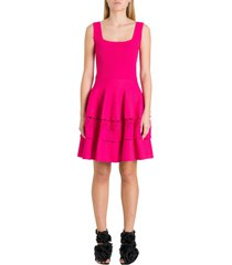 alexander mcqueen engineered ribbed knit dress