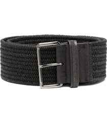 brunello cucinelli woven wide waist belt - black