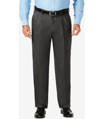 j.m. haggar big & tall classic fit stretch sharkskin pleated dress pants