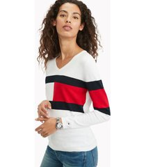 tommy hilfiger women's essential flag sweater bright white - xs