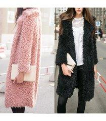 winter graceful women hair furry coat fashion special long sleeve overcoat jacke