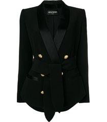 balmain classic double-breasted blazer - black