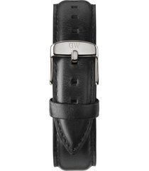 daniel wellington 'classic sheffield' 20mm leather watch strap in black/silver at nordstrom