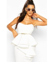 bonded scuba bandeau ruffle midi dress, white