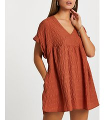 river island womens rust v neck textured romper playsuit