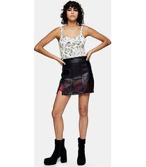 idol black cut out pu mini skirt - black
