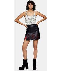 idol black cut out pu mini skirt - black