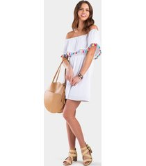 moxie off the shoulder tassel dress - white