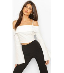 cotton cold shoulder flared cuff top, white