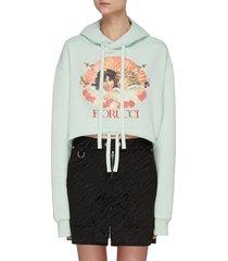 angel print crop hoodie