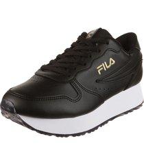 zapatilla negra  fila f-euro jogger wedge sl w