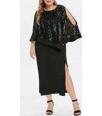 plus size sequins high slit cape party dress