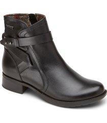 women's rockport cobb hill copley strap waterproof bootie, size 7.5 w - black