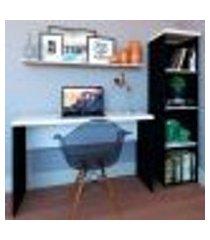 conjunto de mesa com estante e prateleira de escritório corp preto e branco