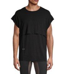 siki im men's baggy muscle t-shirt - black purple - size l