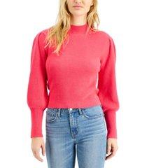bar iii ribbed puff-sleeve sweater, created for macy's