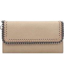 stella mccartney flap wallet wallet in beige faux leather